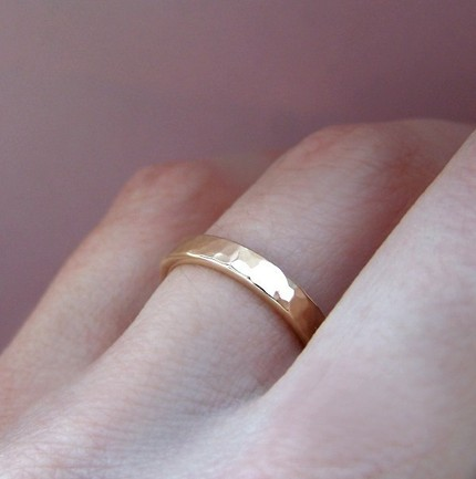 14k Recycled Gold Hammered Band myecochicweddingcom